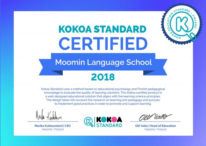 Kokoa Certificate for Moomin Language School