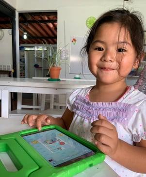A girl using MoominLS in Guatemala