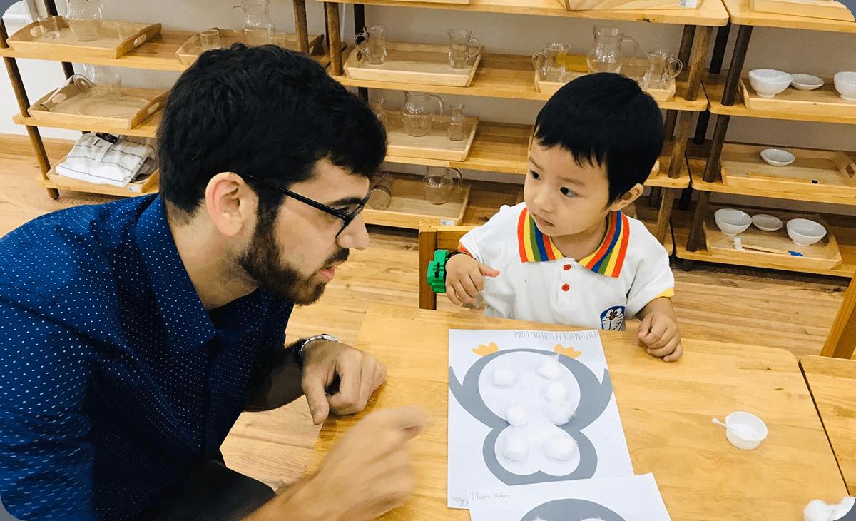 Teacher and student at Clover Montessori kindergarten